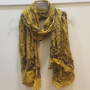 Yellow w gold thread Tibetan scarf